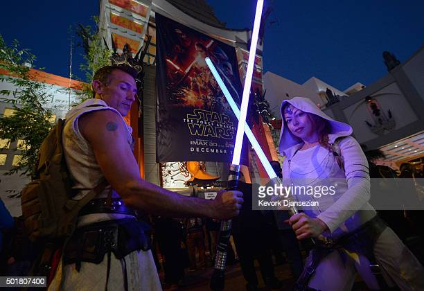 Fans seen during the opening night of Walt Disney Pictures and Lucasfilm's Star Wars The Force Awakens at TCL Chinese Theatre on December 17 2015 in...