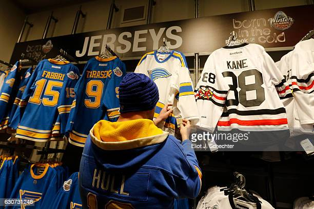 35eda81a4 Fans shop for merchandise prior to the 2017 Bridgestone NHL Winter Classic  Alumni Game between the
