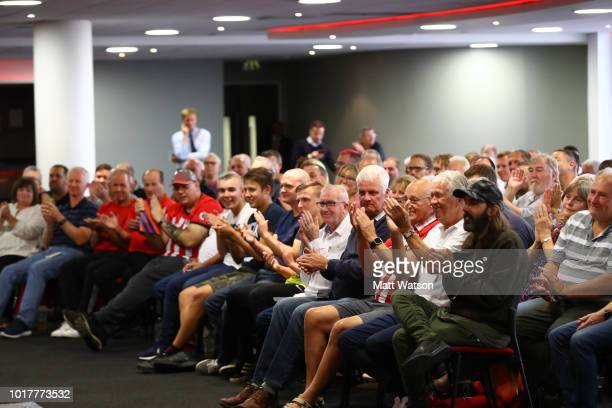 BBC presenter Adam Blackmore during a Southampton FC Fans Forum at St Marys stadium on August 16 2018 in Southampton England