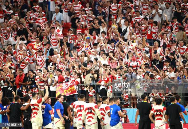 Fans show appreciation to the players following the Rugby World Cup 2019 Group A game between Japan and Samoa at City of Toyota Stadium on October...