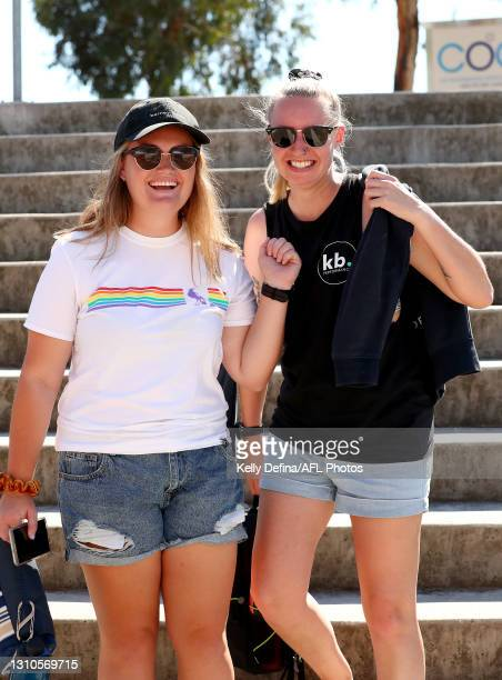 Fans show support during the AFLW Finals Series match between the Collingwood Magpies and the North Melbourne Kangaroos at Victoria Park on April 03,...
