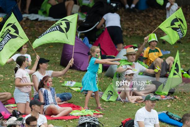 Fans show support during the Women's Big Bash League Semi Finals on January 19 2019 in Sydney Australia