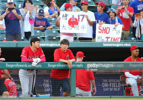 Fans show support for Shohei Ohtani of the Los Angeles Angels of Anaheim before the game against Texas Rangers at Globe Life Park in Arlington on...