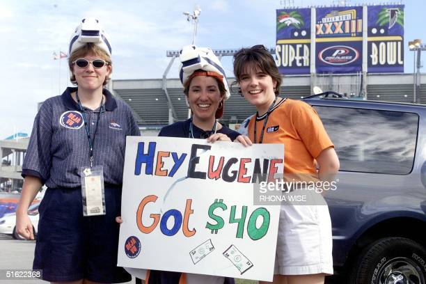 Fans show support for the Denver Broncos outside Pro Player Stadium just hours before the start of Super Bowl XXXIII 31 January in Miami FL The...
