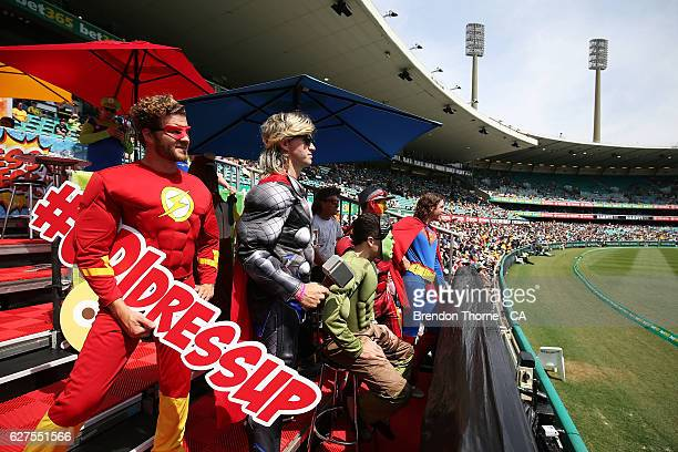 Fans show their colour during game one of the One Day International series between Australia and New Zealand at Sydney Cricket Ground on December 4...