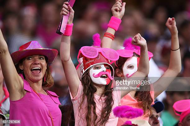 Fans show their colour during the Big Bash League match between the Sydney Sixers and the Melbourne Renegades at Sydney Cricket Ground on January 9...