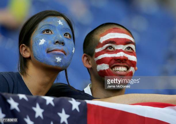 USA fans show their colours before the FIFA World Cup Germany 2006 Group E match between USA and Czech Republic at the Stadium Gelsenkirchen on June...
