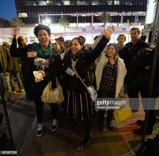 Fans show their excitement for the opening night of Walt Disney Pictures and Lucasfilm's Star Wars The Force Awakens at TCL Chinese Theatre on...