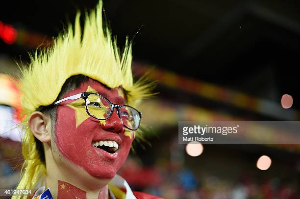 Fans show their support before the 2015 Asian Cup match between China PR and the Australian Socceroos at Suncorp Stadium on January 22 2015 in...