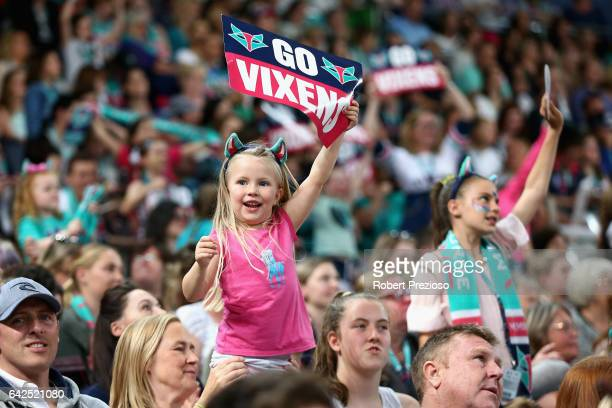 Fans show their support during round one of the Super Netball match between the Vixens and Magpies at Hisense Arena on February 18 2017 in Melbourne...