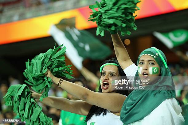 Fans show their support during the 2015 ICC Cricket World Cup match between Pakistan and Ireland at Adelaide Oval on March 15 2015 in Adelaide...