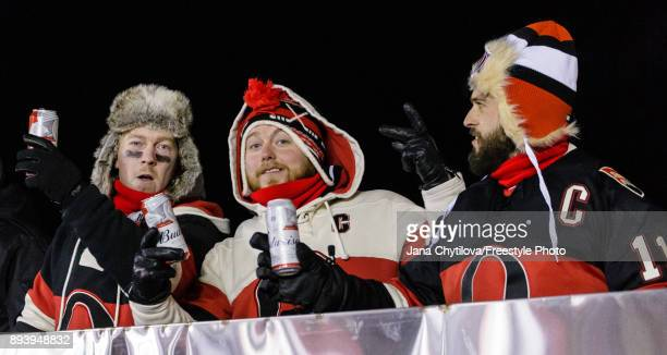 Fans show their support during the 2017 Scotiabank NHL100 Classic between the Ottawa Senators and the Montreal Canadiens at Lansdowne Park on...