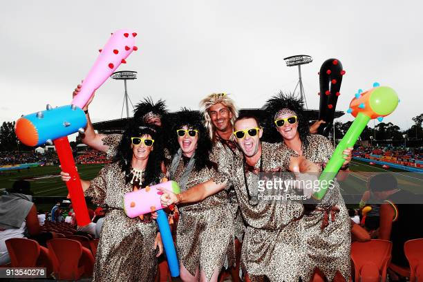Fans show their support during the 2018 New Zealand Sevens at FMG Stadium on February 3 2018 in Hamilton New Zealand