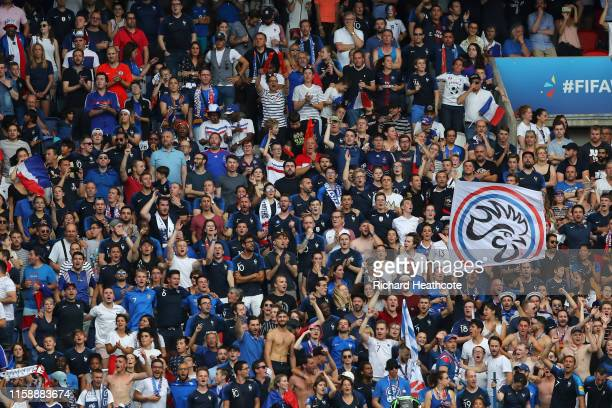 Fans show their support during the 2019 FIFA Women's World Cup France Quarter Final match between France and USA at Parc des Princes on June 28, 2019...