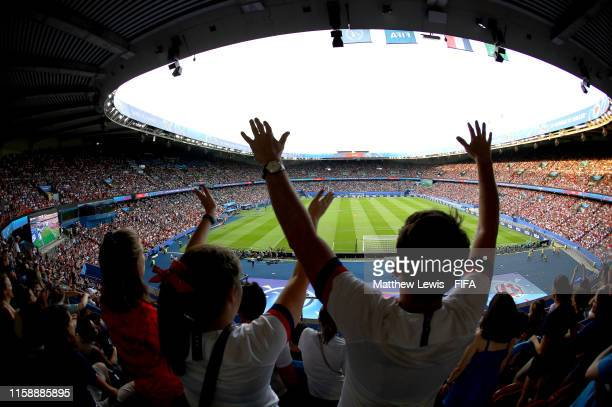 Fans show their support during the 2019 FIFA Women's World Cup France Quarter Final match between France and USA at Parc des Princes on June 28 2019...