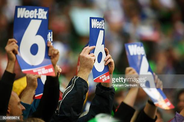 Fans show their support during the Big Bash League match between the Melbourne Stars and the Brisbane Heat at Melbourne Cricket Ground on January 14...
