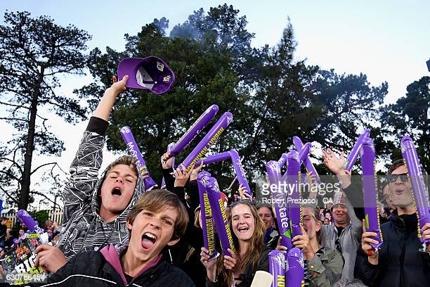 Fans show their support during the Big Bash League match between the Hobart Hurricanes and Adelaide Strikers at Blundstone Arena on January 2 2017 in...