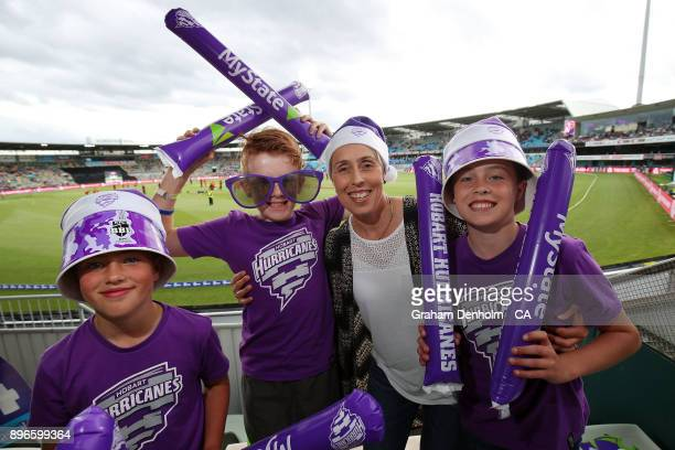 Fans show their support during the Big Bash League match between the Hobart Hurricanes and the Melbourne Renegades at Blundstone Arena on December 21...