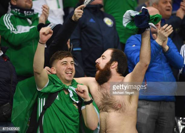 Fans show their support during the FIFA 2018 World Cup Qualifier PlayOff First Leg between Northern Ireland and Switzerland at Windsor Park on...