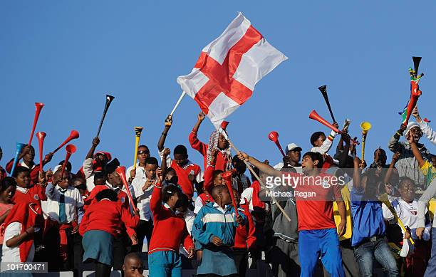 Fans show their support during the friendly match between England and Platinum Stars at the Moruleng Stadium on June 7, 2010 in Moruleng, South...