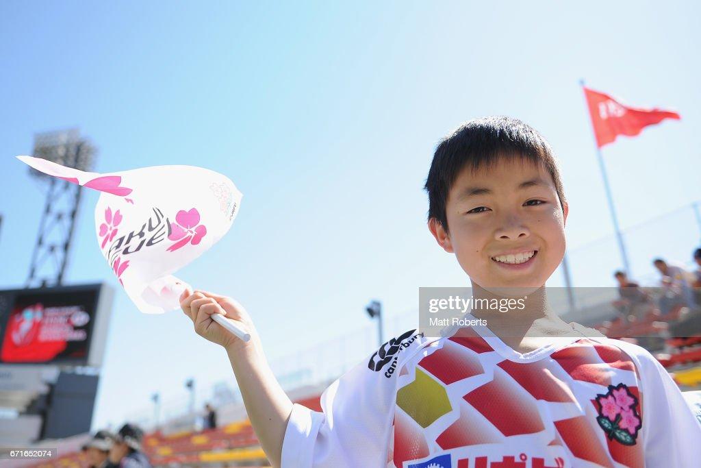 Fans show their support during the HSBC World Rugby Women's Sevens Series 2016/17 Kitakyushu at Kitakyushu Stadium on April 23, 2017 in Kitakyushu, Japan.