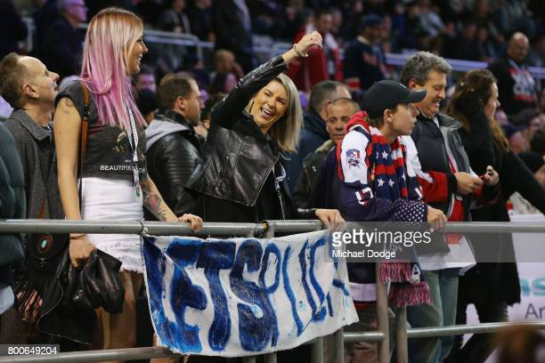 A fans show their support during the Ice Hockey Classic match between the United States of America and Canada at Hisense Arena on June 24 2017 in...