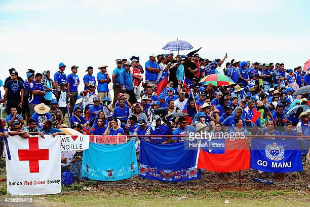 Fans show their support during the International Test match between Samoa and the New Zealand All Blacks at Apia Stadium on July 8 2015 in Apia Samoa