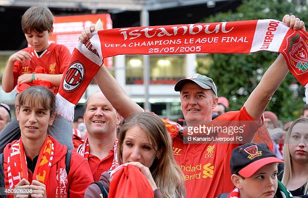 Liverpool FC In Brisbane. Fans show their support during the launch of the  new away playing kit at King George 7ade7354c