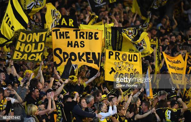 Fans show their support during the Second AFL Preliminary Final match between the Richmond Tigers and the Greater Western Sydney Giants at Melbourne...