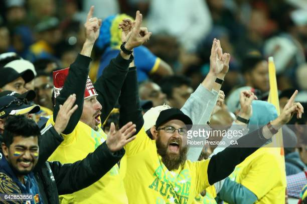 Fans show their support during the second International Twenty20 match between Australia and Sri Lanka at Simonds Stadium on February 19 2017 in...