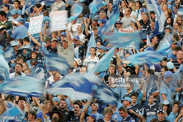 Fans show their support during the Super 14 semifinal match between the Vodacom Bulls and the Crusaders held at the Loftus Versfeld Stadium on May 12...