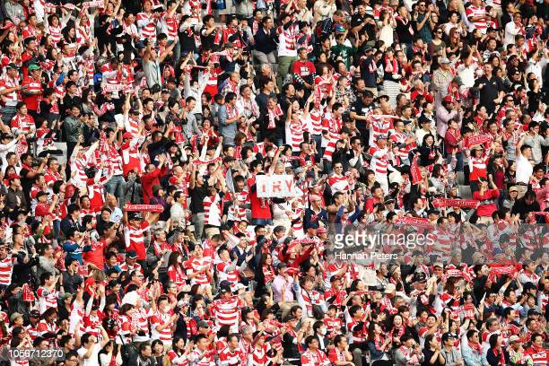 Fans show their support during the test match between Japan and New Zealand All Blacks at Tokyo Stadium on November 3 2018 in Chofu Tokyo Japan
