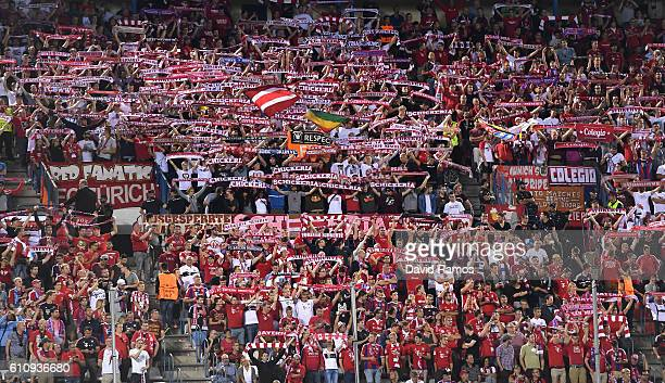 Fans show their support during the UEFA Champions League group D match between Club Atletico de Madrid and FC Bayern Muenchen at the Vicente Calderon...