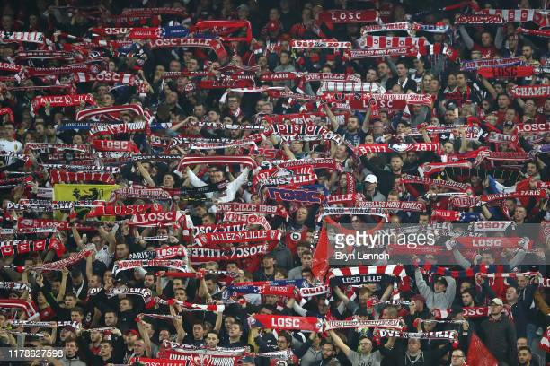 Fans show their support during the UEFA Champions League group H match between Lille OSC and Chelsea FC at Stade Pierre Mauroy on October 02, 2019 in...