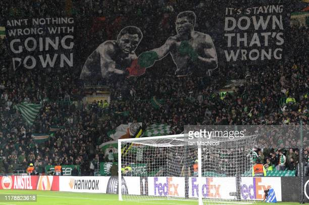 Fans show their support during the UEFA Europa League group E match between Celtic FC and CFR Cluj at Celtic Park on October 03 2019 in Glasgow...