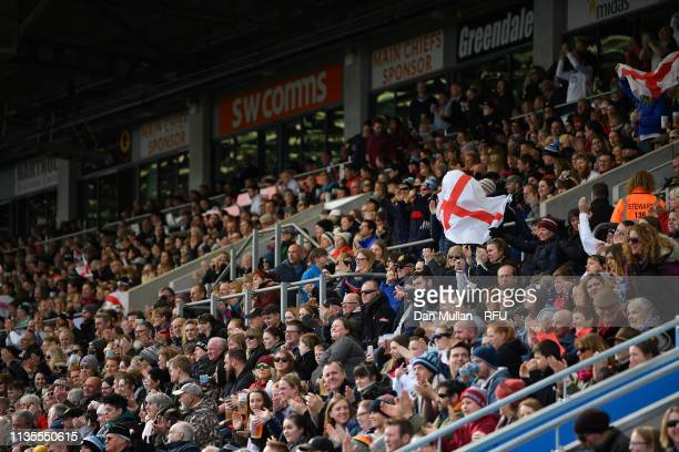 Fans show their support during the Womens Six Nations match between England and Italy at Sandy Park on March 09 2019 in Exeter England