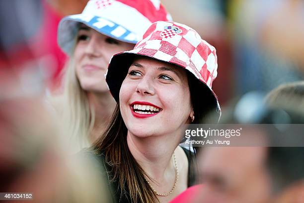 Fans show their support for Ana Konjuh of Croatia during day one of the 2015 ASB Classic at ASB Tennis Centre on January 5 2015 in Auckland New...