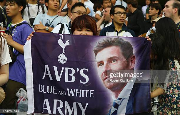 Fans show their support for Andre VillasBoas coach of Tottenham Hotspur during a Tottenham Hotspur Barclays Asia Trophy training session at Hong Kong...
