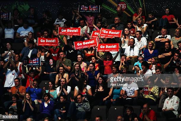 Fans show their support for David Davies of United Kingdom in the Men's 1500m Freestyle Final during the ninth FINA World Swimming Championships at...