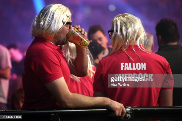 Fans show their support for Fallon Sherrock during day two of the Unibet Premier League at Motorpoint Arena on February 13 2020 in Nottingham England