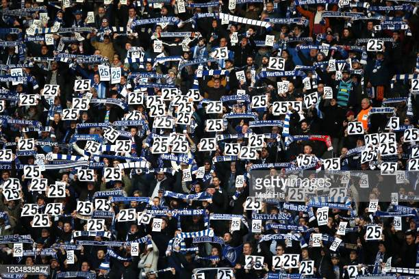Fans show their support for Jordan Torunarigha of Herta BSC prior to the Bundesliga match between Hertha BSC and 1. FSV Mainz 05 at Olympiastadion on...
