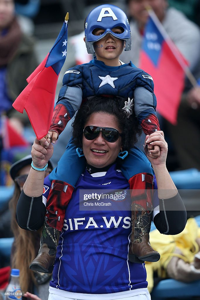 Fans show their support for Samoa during the Shield Final at the Tokyo Sevens, in the six round of the HSBC Sevens World Series at the Prince Chichibu Memorial Ground on March 23, 2014 in Tokyo, Japan.