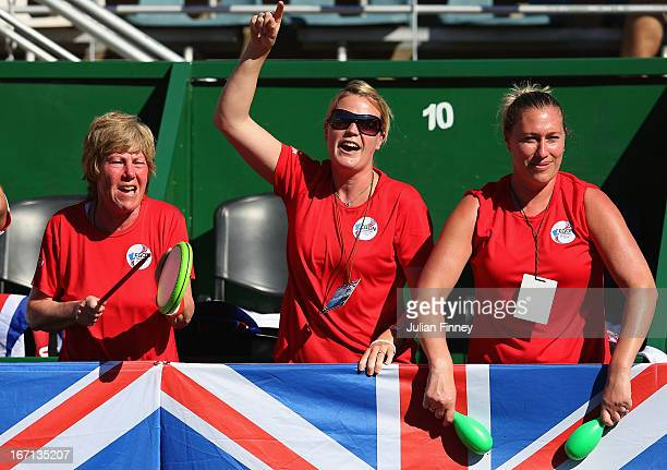GB fans show their support in the match between Paula Ormaechea of Argentina and Laura Robson of Great Britain during day two of the Fed Cup World...
