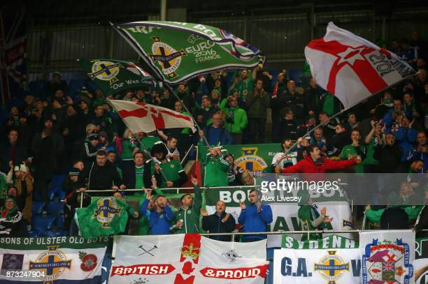 Fans show their support prior to the FIFA 2018 World Cup Qualifier PlayOff Second Leg between Switzerland and Northern Ireland at St JakobPark on...