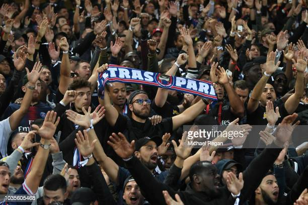 PSG fans show their support prior to the Group C match of the UEFA Champions League between Liverpool and Paris SaintGermain at Anfield on September...
