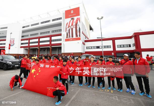 Fans show their support prior to the Premier League match between Stoke City and West Ham United at Bet365 Stadium on April 29 2017 in Stoke on Trent...