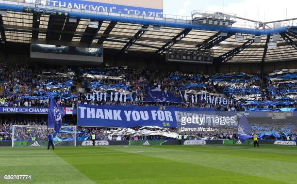 Fans show their support prior to the Premier League match between Chelsea and Sunderland at Stamford Bridge on May 21 2017 in London England