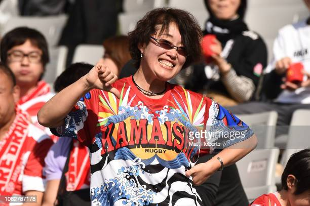Fans show their support prior to the test match between Japan and New Zealand All Blacks at Tokyo Stadium on November 03 2018 in Chofu Tokyo Japan