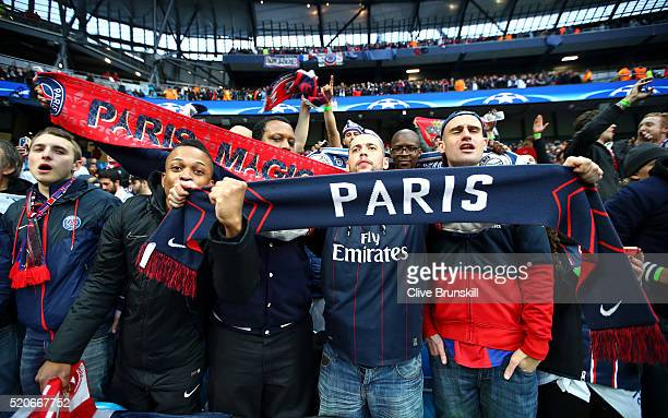 PSG fans show their support prior to the UEFA Champions League quarter final second leg match between Manchester City FC and Paris SaintGermain at...