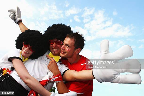 Fans show their support prior to the UEFA EURO 2008 Group B match between Austria and Germany at Ernst Happel Stadion on June 16, 2008 in Vienna,...